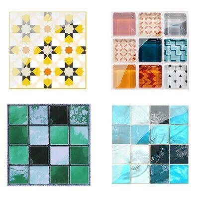 Details About H3e 19pcs Mosaic Tile Wall Sticker Pvc Waterproof