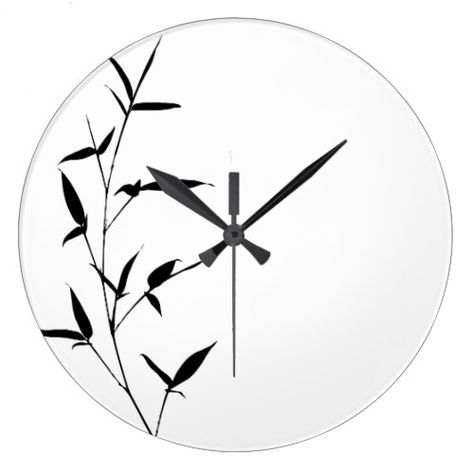 Bamboo Silhouette Background Template Blank Black Large Clock - clock templates