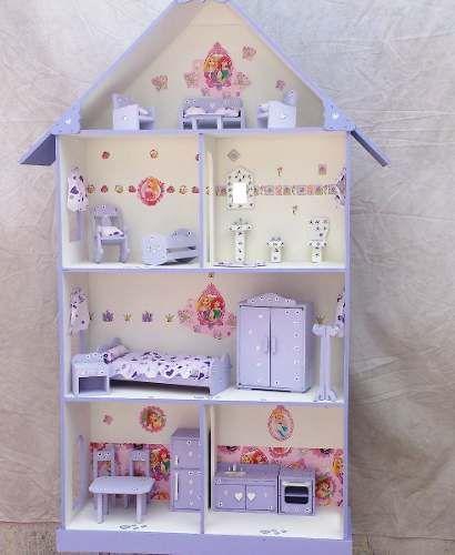 Casita De Muñecas Barbie Pintada Y Decorada Con Muebles Muebles De Casa De Muñecas Muebles Para Muñecas Muebles