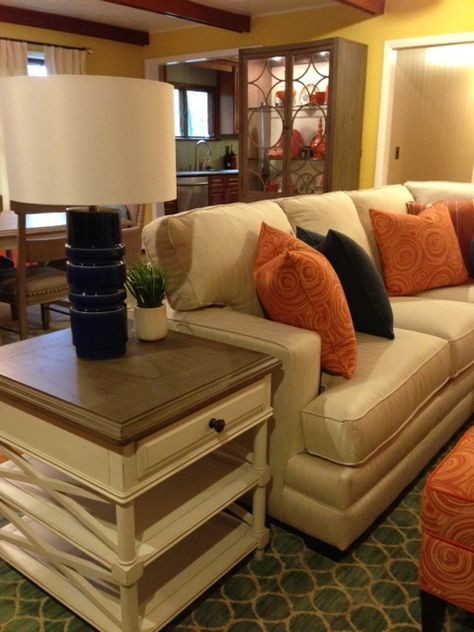 Soothing, cool colors on this HGTV HOME furniture add a sophisticated feel to this living room.