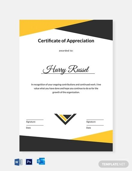 Editable Employee Appreciation Certificate Template Free Pdf Word Psd Google Docs Outlook Certificate Templates Certificate Of Appreciation Free Business Card Templates