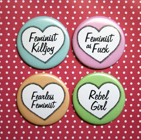 Feminist Slogan Hearts Fridge Magnet Set by CandyPunkCo on Etsy