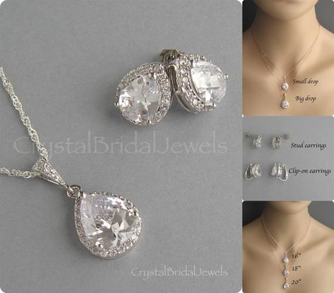 Clear Drop Crystal Set Bridal Jewelry Sterling Silver Chain Rhodium Plated Stud Drop Earrings Cubic Zirconia Bridesmaid Gift CB100