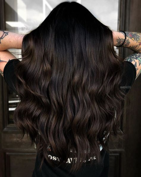 Brunette Balayage for Thick Hair - 50 Cute Long Layered Haircuts with Bangs 2019 - The Trending Hairstyle Brown Hair Balayage, Brown Hair With Highlights, Balayage Brunette, Black Hair With Brown Highlights, Dark Brown Balayage, Dark Brunette Hair, Long Dark Hair, Black Hair Dyed Brown, Ash Brown