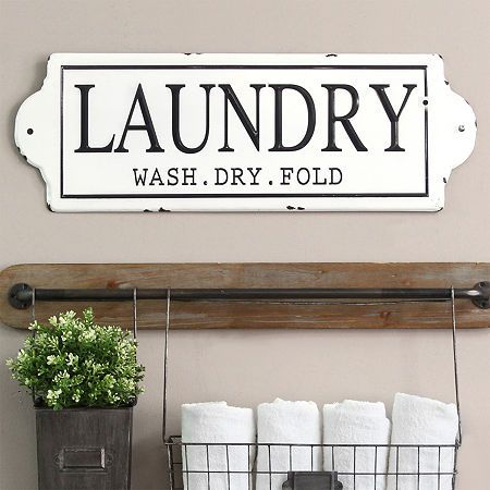 Stratton Home Decor Laundry Enamel Vintage Metal Wall Art Laundry Room Wall Decor Washing Laundry Laundry Room Design