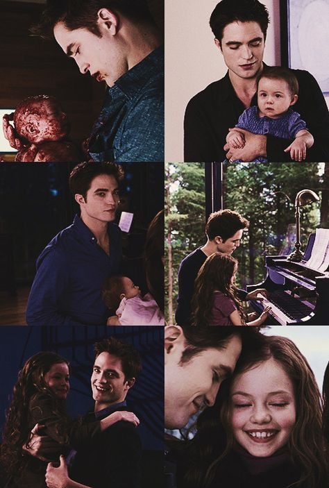 Robert Pattinson as Edward Cullen with Mackenzie Foy as Renesmee Cullen Twilight Bella Und Edward, Twilight Film, Twilight Saga Quotes, Twilight Renesmee, Twilight Saga Series, Twilight Breaking Dawn, Twilight New Moon, Edward Bella, Edward Cullen