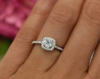 3 4 Ctw Classic Square Halo Engagement Ring Man Made Diamond