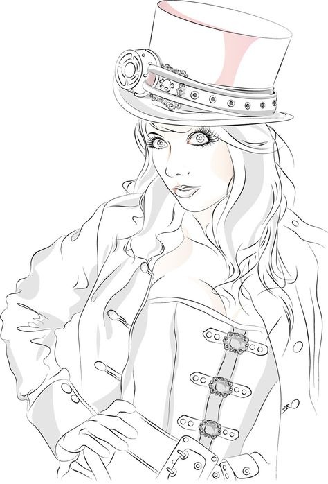 image relating to Free Printable Fantasy Pinup Girl Coloring Pages titled Pinterest Пинтерест