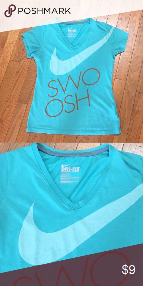 Nike Dri-Fit Swoosh Top Sz Medium Slim Fit Nike Dri-Fit Swoosh Top Sz Medium Slim Fit  Good condition-perfect Top year round. Teal color. Nike Tops
