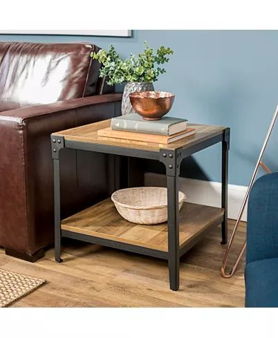 Walker Edison Angle Iron Rustic Wood End Table Set Of 2 Reviews Home Macy S In 2020 Wood End Tables Rustic End Tables Living Room End Tables