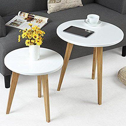 Amazon Com Pallamila Three Legged Bamboo End Table Modern Round