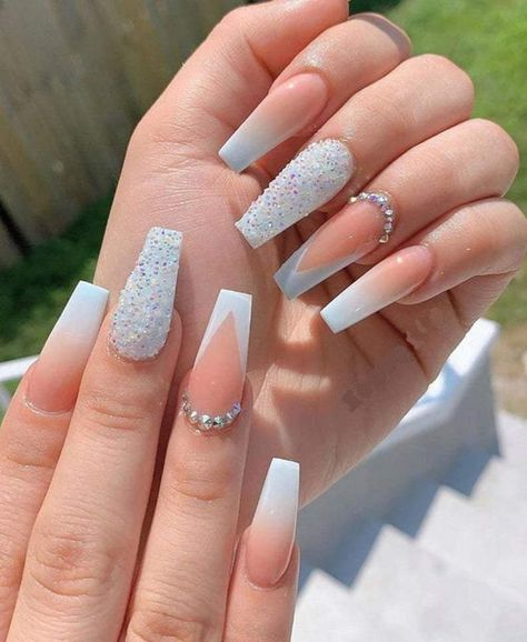 Bling Acrylic Nails, Simple Acrylic Nails, Best Acrylic Nails, Summer Acrylic Nails, Glue On Nails, Rhinestone Nails, Glitter Nails, Coffin Nails Ombre, Pink Gel