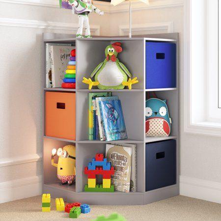 Riverridge Kids 6 Cubby 3 Shelf Corner Cabinet Walmart Com In 2020 Corner Storage Toy Organization Kids Storage