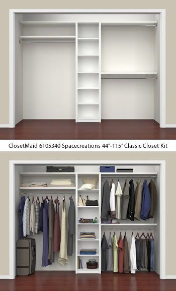 Closetmaid 6105340 Spacecreations 44 115 Classic Closet Kit Closetmaid Spacecreations Close Bedroom Closet Design Closet Renovation Wardrobe Design Bedroom