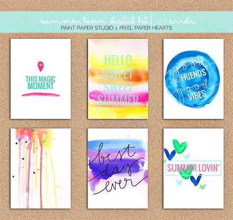 Summer Lovin' project life kit by PaintPaperStudio on Etsy, $10.00