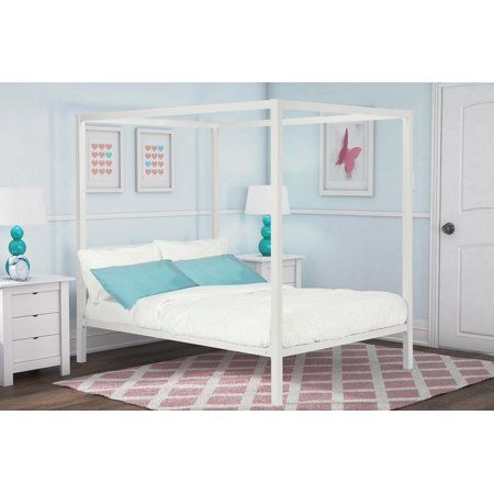Home Modern Canopy Bed Metal Canopy Bed White Full Size Bed