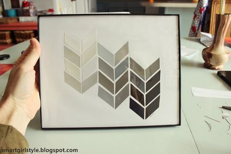 DIY Gift Idea: Herringbone Paint Chip Art