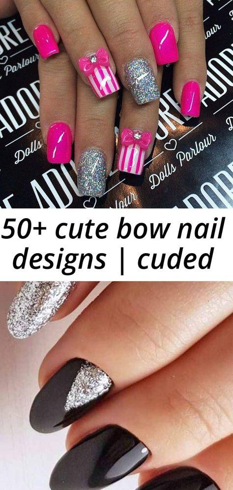 50+ cute bow nail designs | cuded