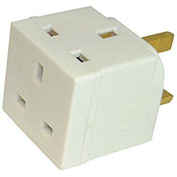2 Way Double Uk Mains 3 Pin 250v Adapter Plug Socket Plug Socket Adapter Plug Sockets