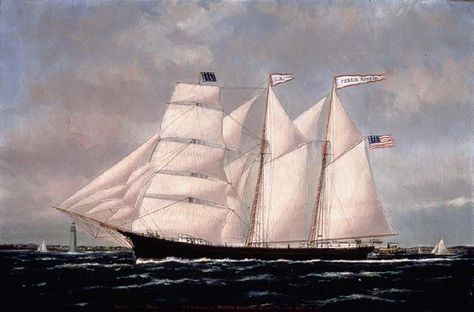 """American Barquentine """"Carrie Nigels"""" (read on the flags)"""