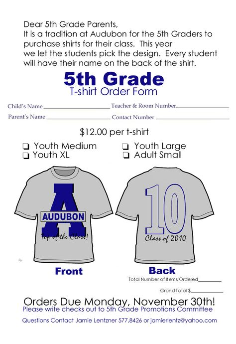 Graduation T-Shirt Fifth Grade at Silver Ridge Elementary school - t shirt order form