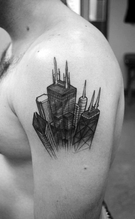 Tattoos For Men With Images Skyline Tattoo Chicago Skyline