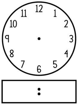 Blackline Clip Art Clock Template Analog And Digital Clock