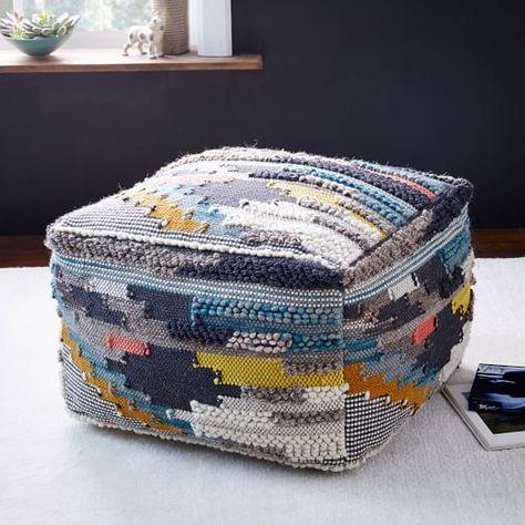 Multi Pixel Woven Wool Pouf   West Elm