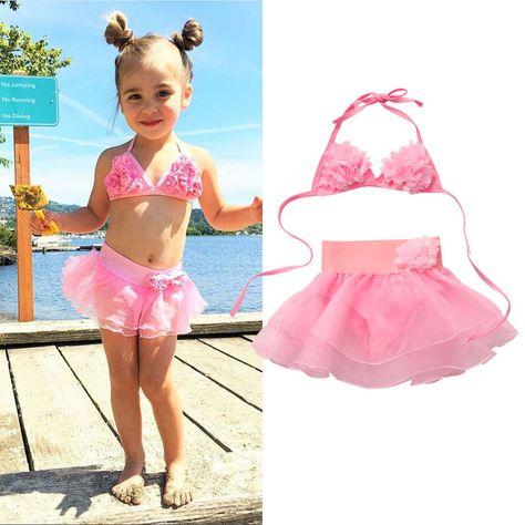 8998e4773d5c5 $4.99 - Kids Girl Toddler Floral Swimming Bathing Suit Swimsuit Bikini Set  Swimwear C #ebay #Fashion