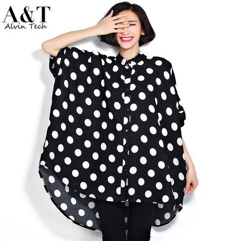 f87a5dd17 Barato Hot mulheres Plus Size ver atilde o 2016 blusas moda feminina  Oversized Batwing luva Polka Dot impress otilde es Super grande camisas  soltas topos