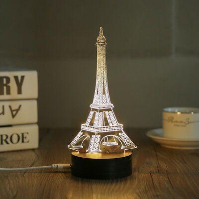 Home Decor Wood Acrylic 3d Eiffel Tower Lamp Night Light Living Table Desk Lamp Eiffel Tower Lamp Night Light Lamp