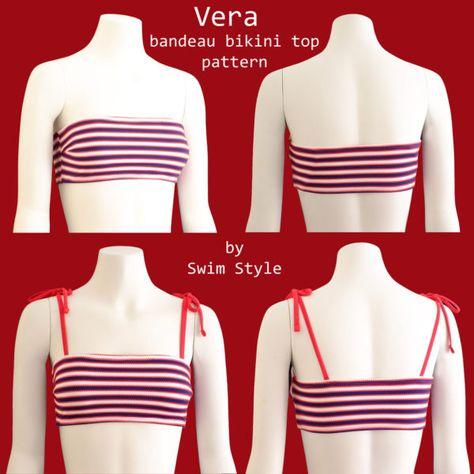 Vera bandeau bikini top sewing pattern Source by Tops