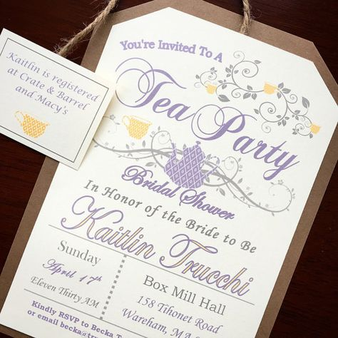Rustic Tea Party Invitations - lavender and yellow with twine attached tea tag