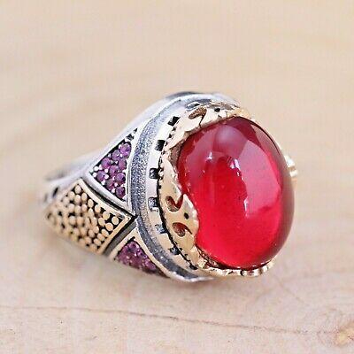 925 Sterling Silver 7.25 Carat Natural Red Garnet Gemstone Vintage Oval Cut Men/'s Ring