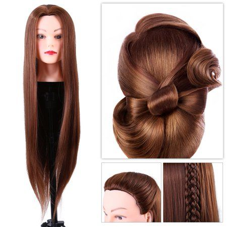 Herchr Hairdresser Training Head Cosmetology Doll Head Synthetic Fiber Mannequin Head Table Clamp Stand Traini Hair Mannequin Long Hair Styles Mannequin Heads