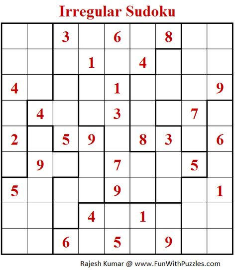 image relating to Irregular Sudoku Printable referred to as Sudoku abnormal grid
