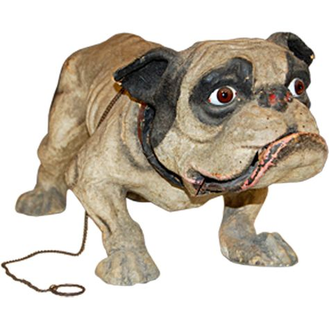 """French 19th Century Papier Mache """"Growler"""" Toy on Wheels"""