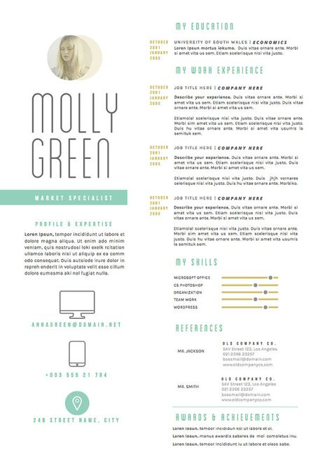 Resume Template \/ CV Template - The Elizabeth Grant Resume Design - cover letter download