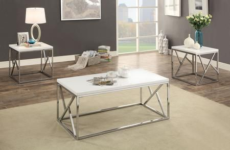 Kuzen Collection Cm4811wh 3pk 3 Piece Table Set With Coffee Table