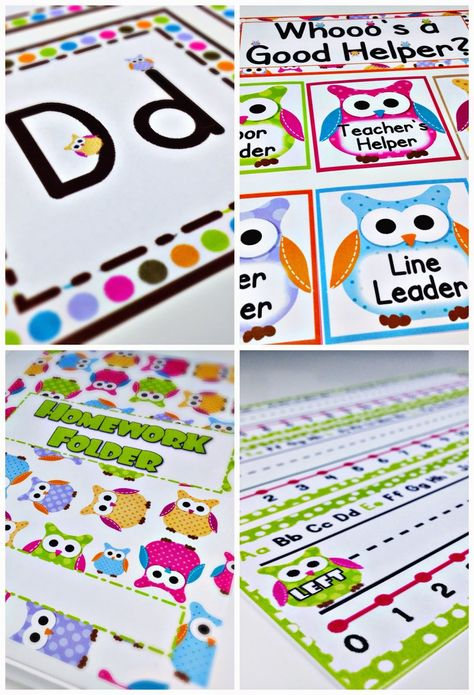 Freebies, Ideas, Materials, Decorations, Bulletin Board Display, Student Job Cards, Grouping Cards, Binder Covers, Alphabet and Cursive Posters, Welcome Banner, Name Tags and more for your owl classroom theme $