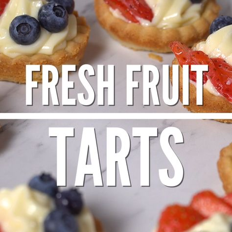 These fresh fruit tarts will definitely make you feel like a fancy french pastry chef in the kitchen! #fruittart #easy #recipe #crust #custard #filling #mini #berry #dessert #video #iheartnaptime
