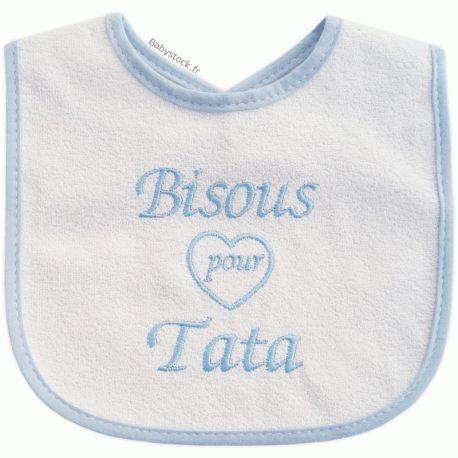 2386f38688e6d Bavoir bébé fille éponge dos PVC brodé Bisous pour Tata rose   Babystock