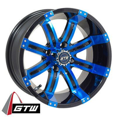 1 Golf Cart Gtw Tempest 14 Inch Blue And Black Wheel With 3 4 Offset Black Wheels Wheel Golf Carts