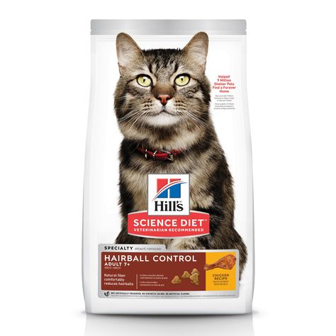 Hill S Science Diet Adult 7 Hairball Control Chicken Recipe Dry Cat Food 7 Lbs Bag Hills Science Diet Science Diet Dry Cat Food