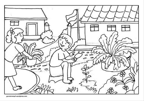 Mewarnai Hewan Dan Bunga Buku Mewarnai Sketsa Warna Sekolah