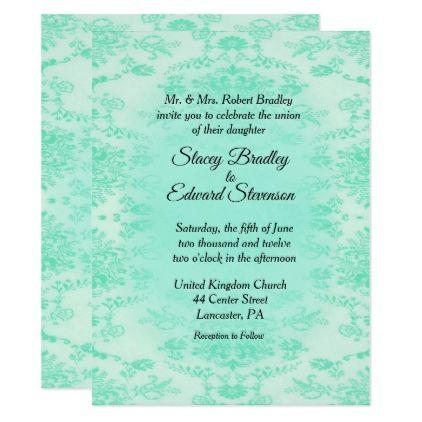 Mint Green Damask Wedding Invitation Zazzle Com Damask