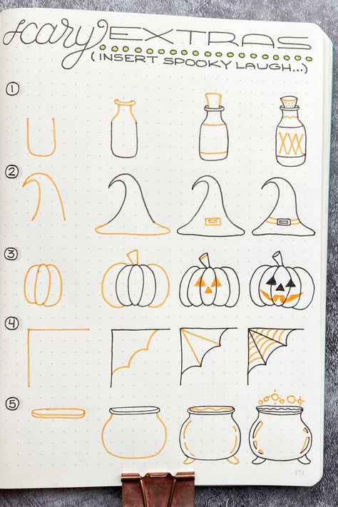 How to Draw: Scary Extra Bullet Journal Doodles Get in the spooky spirit of Halloween with these Bullet Journal doodles. Bullet Journal 2020, Bullet Journal Aesthetic, Bullet Journal Notebook, Bullet Journal Ideas Pages, Bullet Journal Spread, Bullet Journal Layout, Bullet Journal Inspiration, Bullet Journals, Bullet Journal October Theme