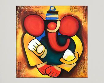 Ganesha Art Modern Indian Art Asian Decor Painting On Etsy Ganesha Painting Ganesh Art Indian Contemporary Art
