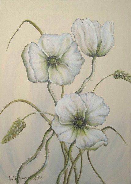 Weisser Mohn Acrylgemalde Auf Leinwand 50cmx70cm Elegantes Gemalde Mit Weissen Handgemalte Mohnblumen Und Grasern Blumenbilder Mohnblume Blumen Bilder