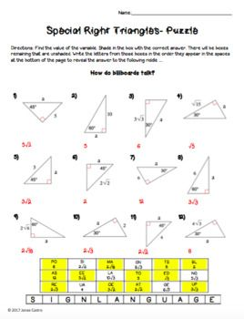 Special Right Triangles - Puzzle Worksheet | Hiba | Special right ...